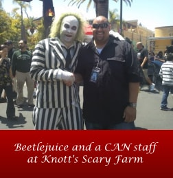 Beetlejuice and a CAN staff at Knott's Scary Farm